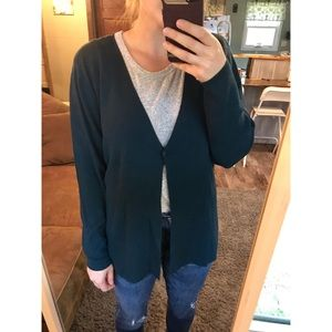 Eileen Fisher wool crepe knit cardigan sweater L